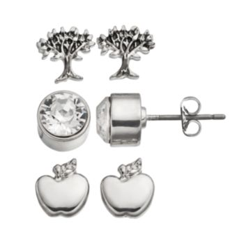Charming Inspirations Apple & Tree Stud Earring Set