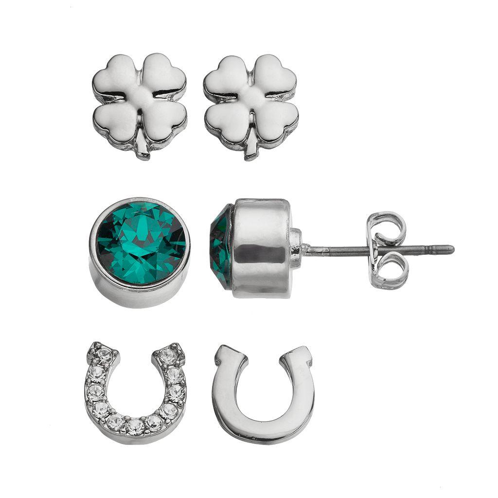 Charming Inspirations Horseshoe & Clover Stud Earring Set