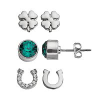 Charming Inspirations Horseshoe & Clover Stud Earring Set