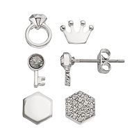 Charming Inspirations Crown & Key Mismatch Stud Earring Set