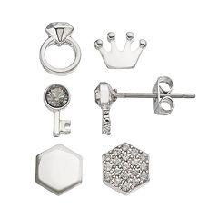 Charming Inspirations Crown & Key Mismatch Stud Earring Set