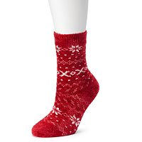 Cuddl Duds Fairisle Chenille Crew Socks - Women