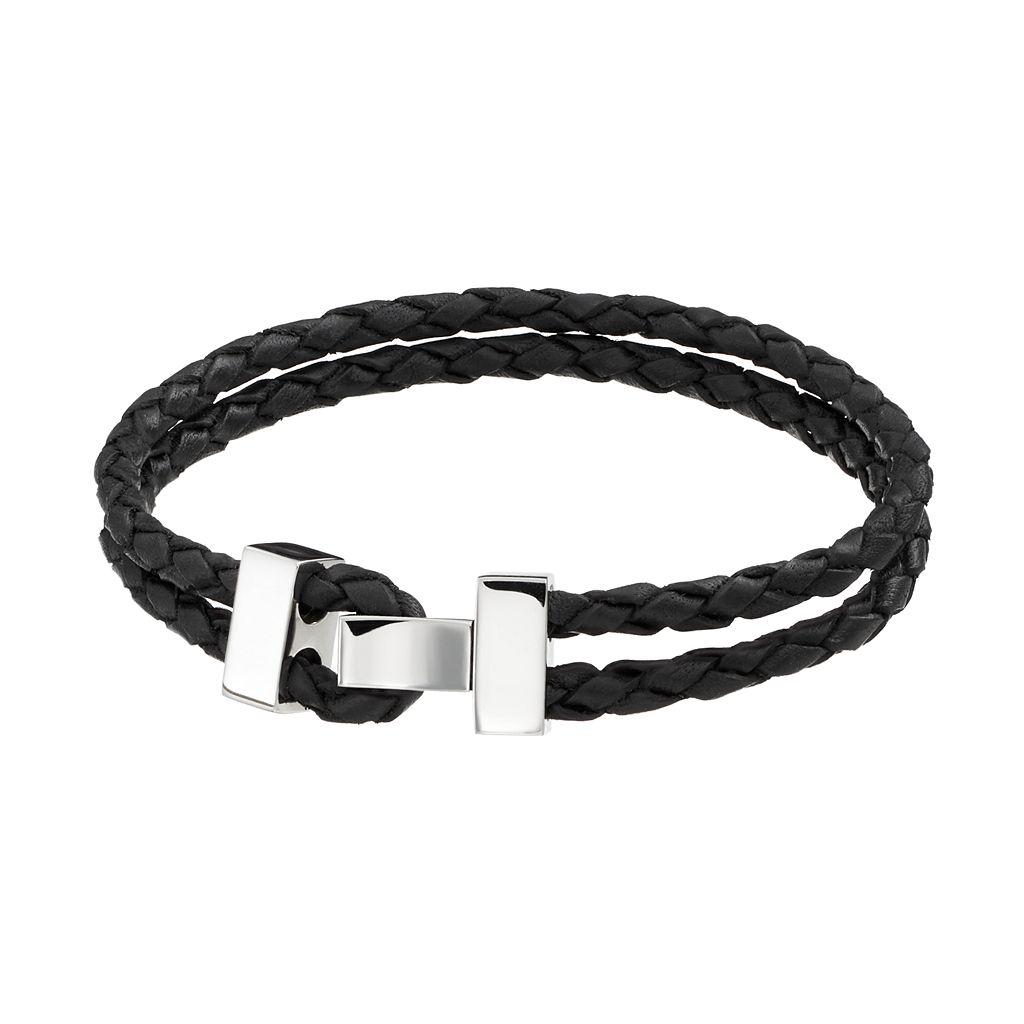 Stainless Steel Leather Braided Bracelet - Men