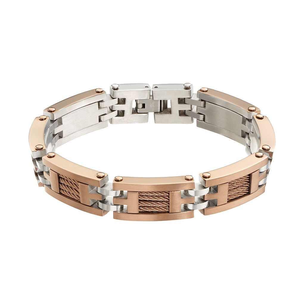 Brown Immersion-Plated Stainless Steel & Stainless Steel Cable Link Bracelet - Men