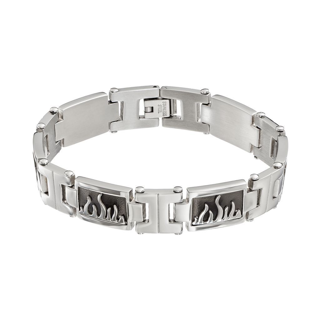 Stainless Steel Flame Rectangle Link Bracelet - Men