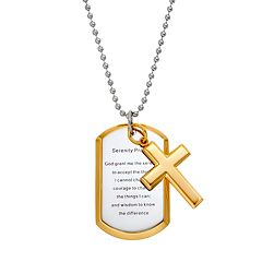 Stainless Steel & Yellow Ion-Plated Stainless Steel Serenity Prayer Dog Tag Necklace - Men
