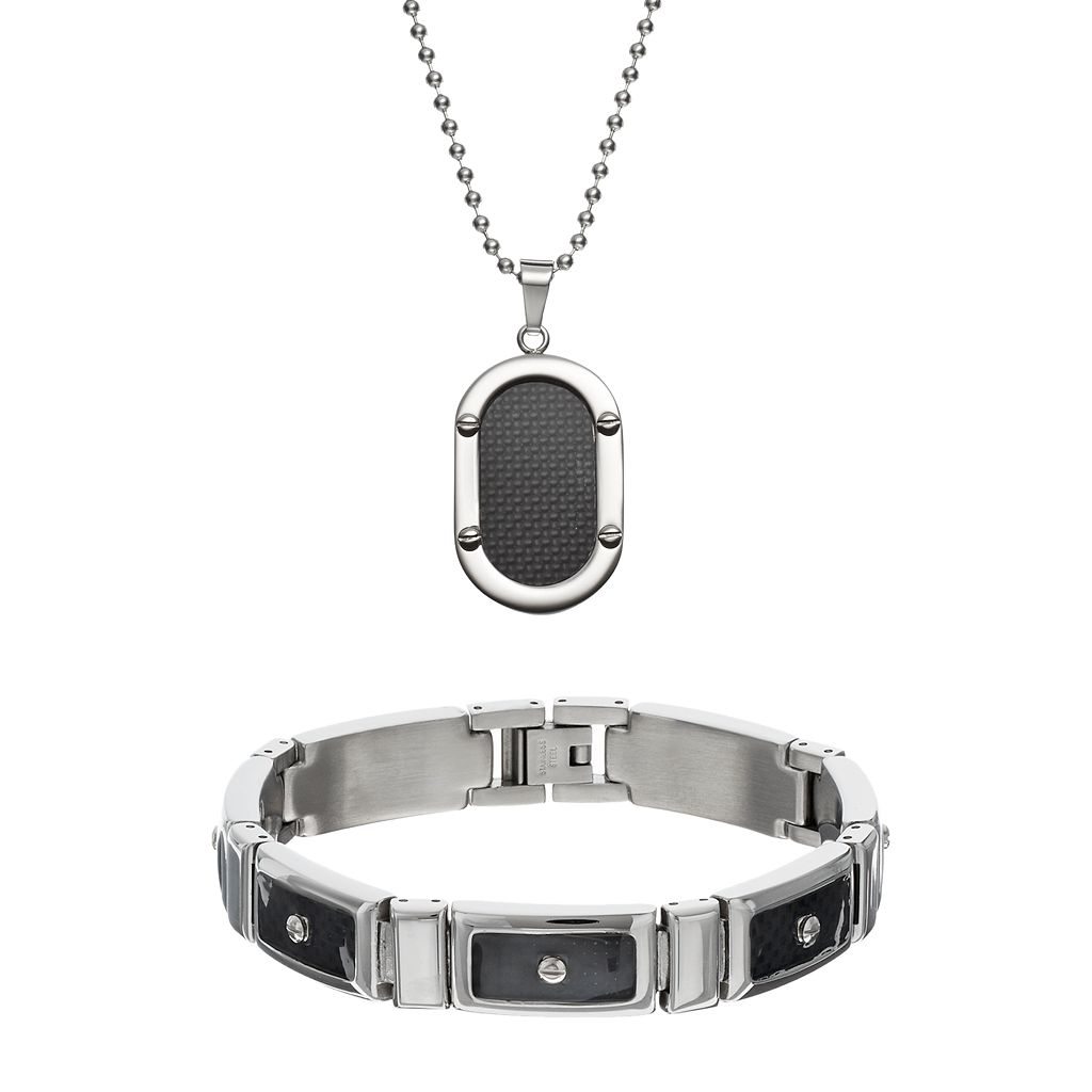 Stainless Steel & Carbon Fiber Dog Tag Necklace & Rectangle Link Bracelet Set - Men