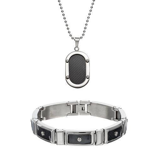 Stainless Steel & Carbon Fiber Dog Tag Necklace & Rectangle Link Bracelet Set - Men
