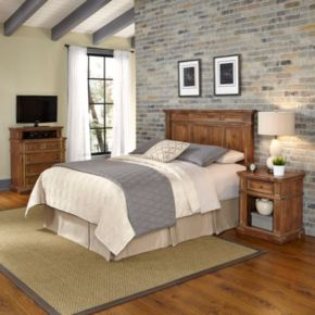 Home Styles Americana Vintage 3-piece Headboard, Night Stand, & Media Chest Set
