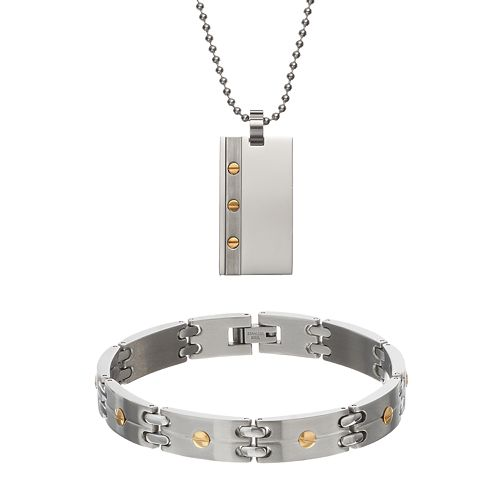 Stainless Steel Dog Tag Necklace & Rectangle Link Bracelet Set - Men