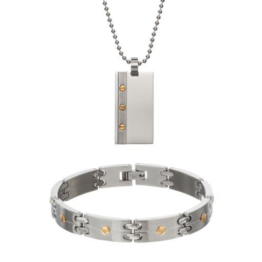 Stainless Steel Dog Tag Necklace & Rectangle Link Bracelet Set - Men