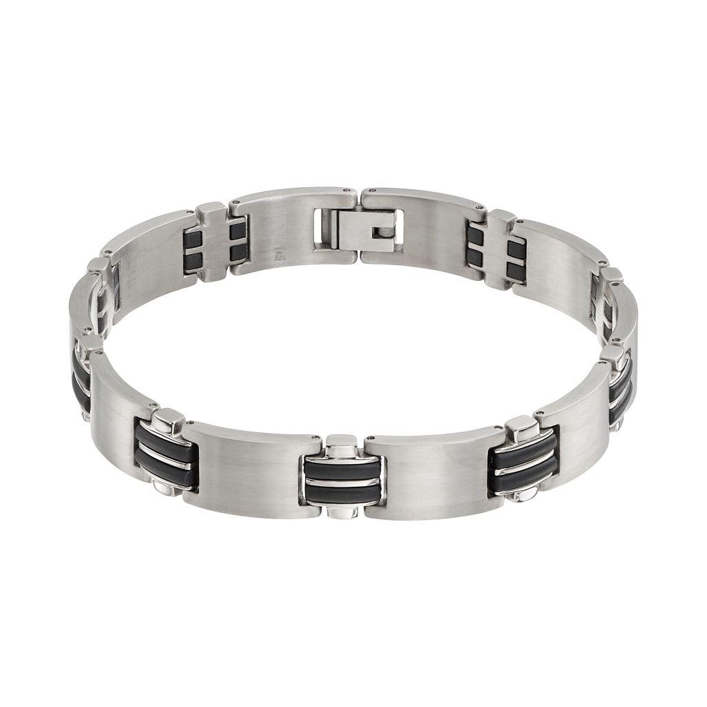 Titanium & Black Resin Rectangle Link Bracelet - Men