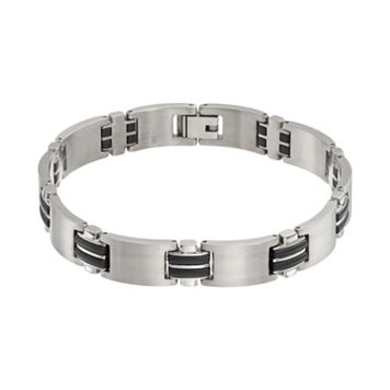 Titanium & Black Resin Rectangle Link Bracelet - Men