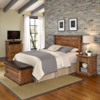 Home Styles Americana Vintage 4-piece Headboard, Night Stand,  Media Chest & Upholstered Bench Set