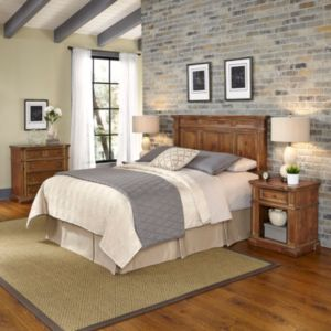 Home Styles Americana Vintage 4-piece Headboard, Night Stand & Chest Set