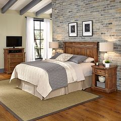 Home Styles Americana Vintage 4-piece Headboard, Night Stand & Media Chest Set