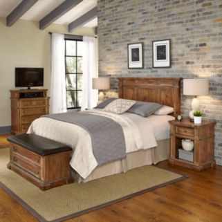 Home Styles Americana Vintage 5-piece Headboard, Night Stand, Media Chest & Upholstered Bench Set