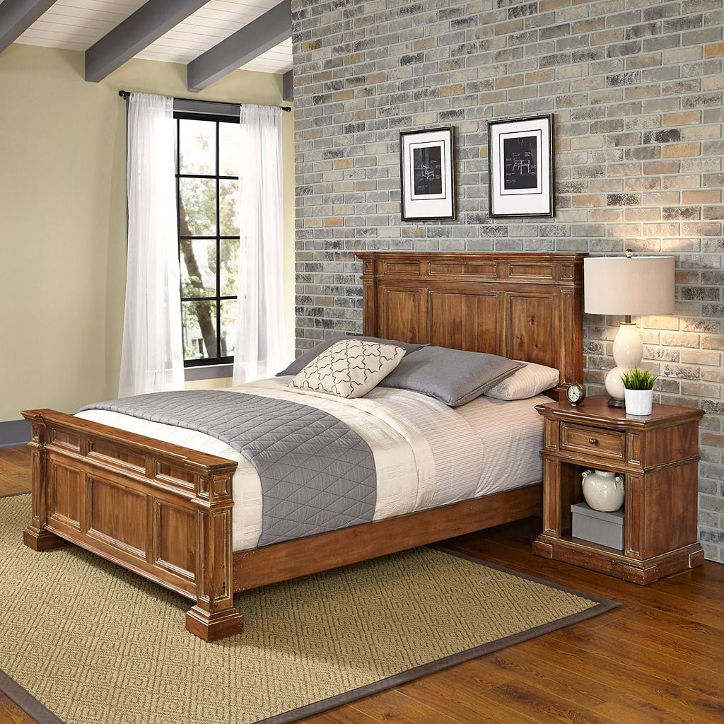 Home Styles Americana Vintage 2-piece Bed & Night Stand Set