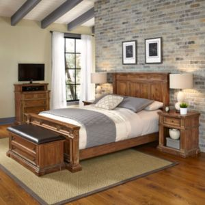 Home Styles Americana Vintage 5-piece Bed, Night Stand, Media Chest & Upholstered Bench Set