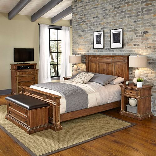 Home Styles Americana Vintage 5 Piece Bed Night Stand Media Chest Upholstered Bench Set