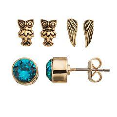 Charming Inspirations Wing & Owl Stud Earring Set