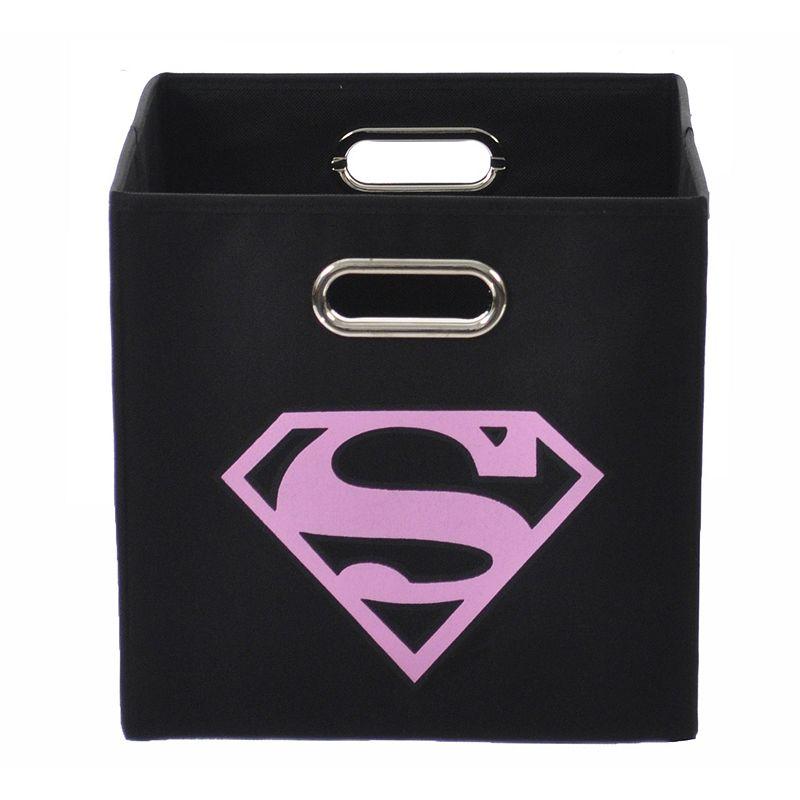 DC Comics Superman Logo Collapsible Storage Bin, Pink