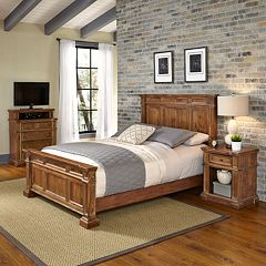 Home Styles Americana Vintage 3-piece Bed, Night Stand & Media Chest Set