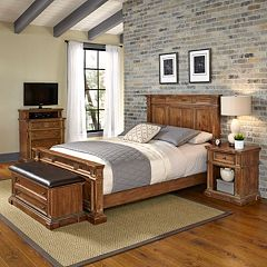 Home Styles Americana Vintage 4-piece Bed, Night Stand, Media Chest & Upholstered Bench Set