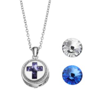 Charming Inspirations Interchangeable Crystal Cross Pendant Necklace Set