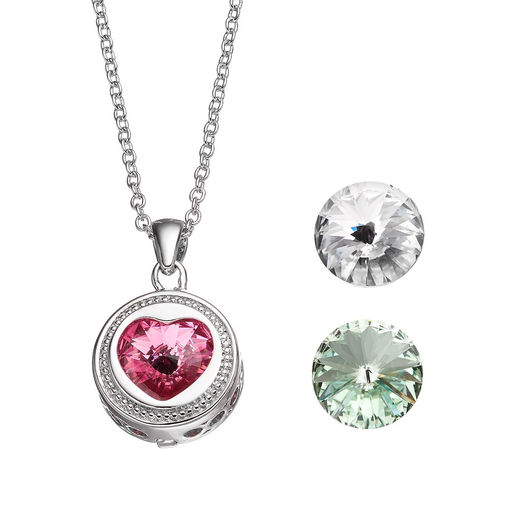 Charming Inspirations Interchangeable Crystal Heart Pendant Necklace Set