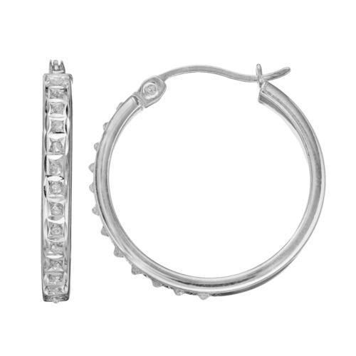 Diamond Mystique Sterling Silver Hoop Earrings