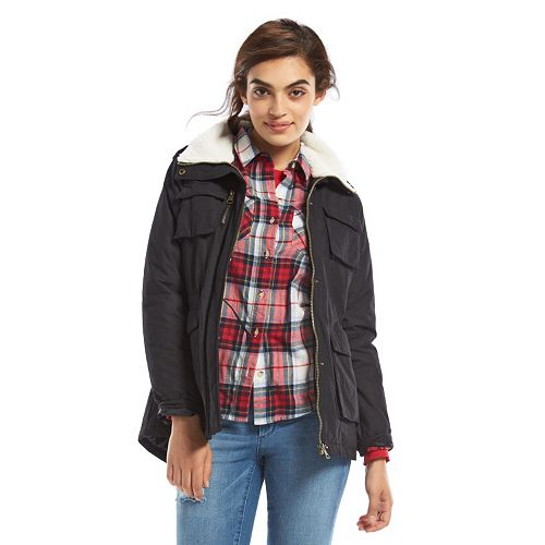 Juniors' Madden Girl Faux Fur Cargo Jacket
