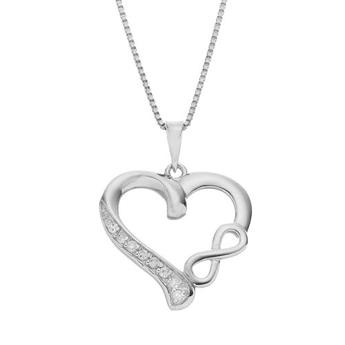 Diamond Classics Sterling Silver 1/10 Carat T.W. Infinity Heart Pendant