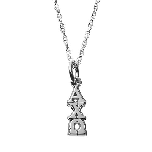 LogoArt Sterling Silver Alpha Chi Omega Sorority Pendant Necklace