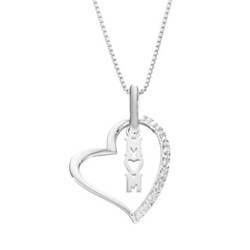 Diamond Classics Sterling Silver 1/10 Carat T.W. Mom Heart Pendant