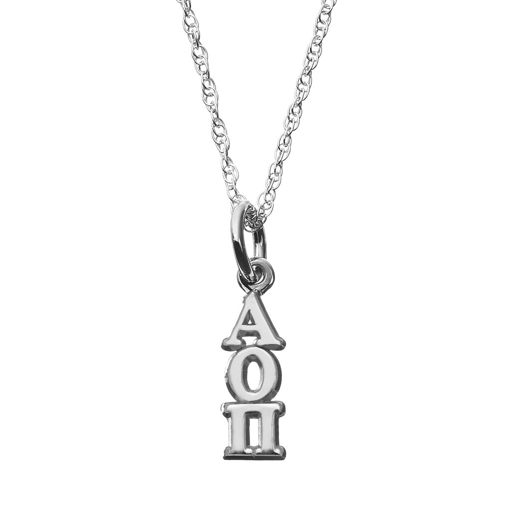 LogoArt Sterling Silver Alpha Omicron Pi Sorority Pendant Necklace