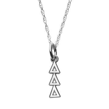 LogoArt Sterling Silver Tri Delta Silver Sorority Pendant Necklace