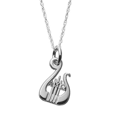 LogoArt Sterling Silver Alpha Chi Omega Sorority Lyre Pendant Necklace