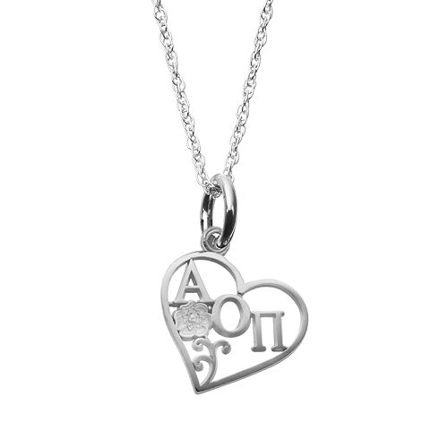 LogoArt Sterling Silver Alpha Omicron Pi Sorority Heart Pendant Necklace