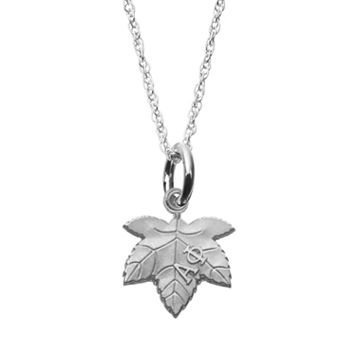LogoArt Sterling Silver Alpha Phi Sorority Ivy Leaf Pendant Necklace