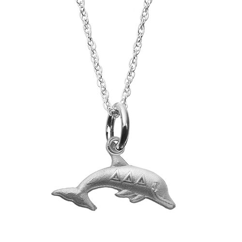 LogoArt Sterling Silver Tri Delta Sorority Dolphin Pendant Necklace