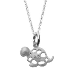 LogoArt Sterling Silver Delta Zeta Sorority Turtle Pendant Necklace