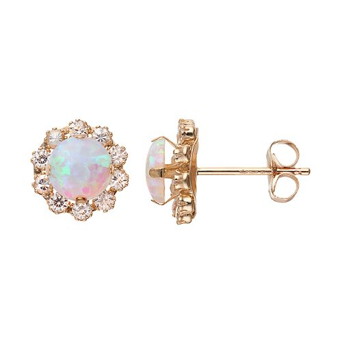 Gold 'N' Ice 10k Gold Simulated White Opal & Cubic Zirconia Halo Stud Earrings