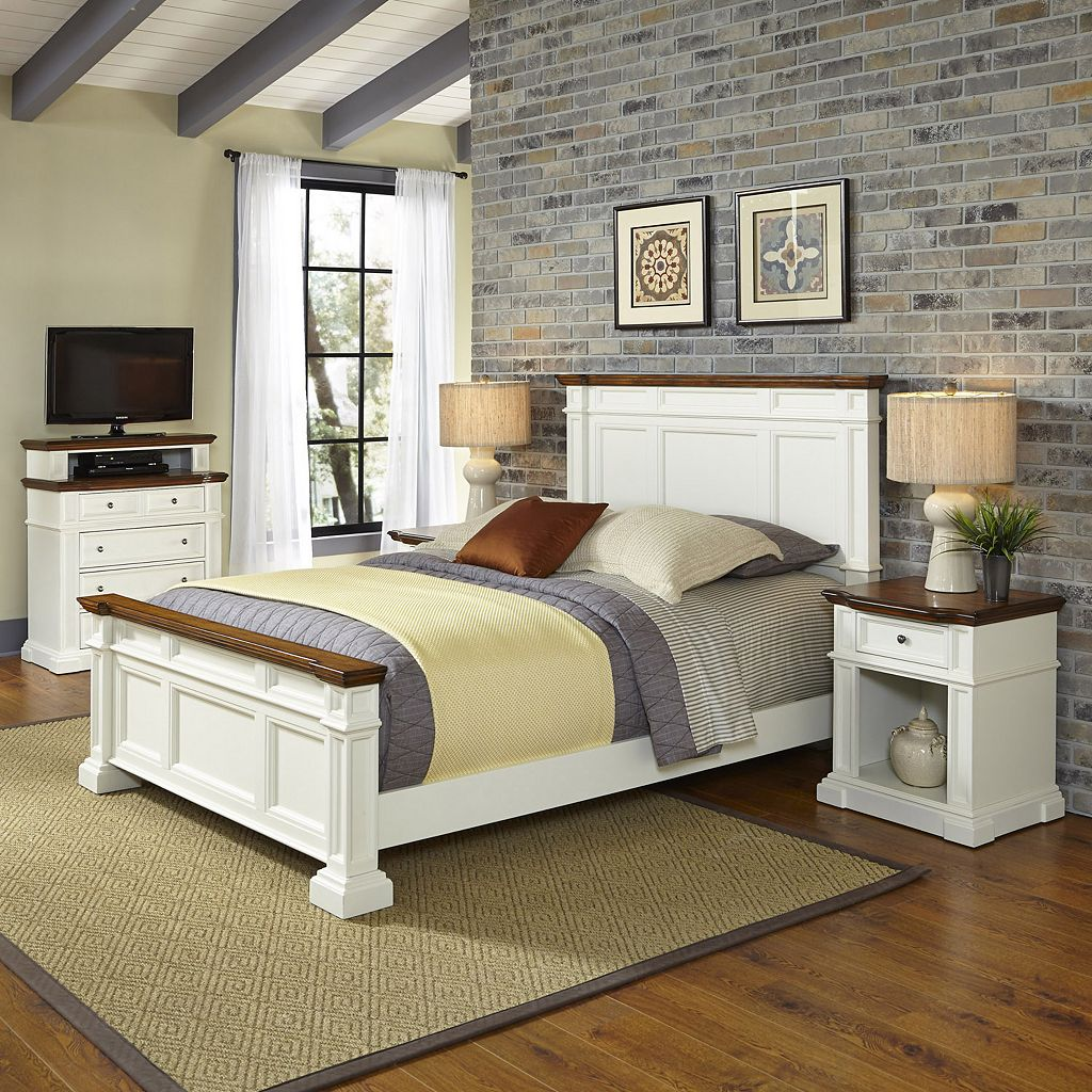 Home Styles Americana Vintage 4-piece Bed, Night Stand & Media Chest Set