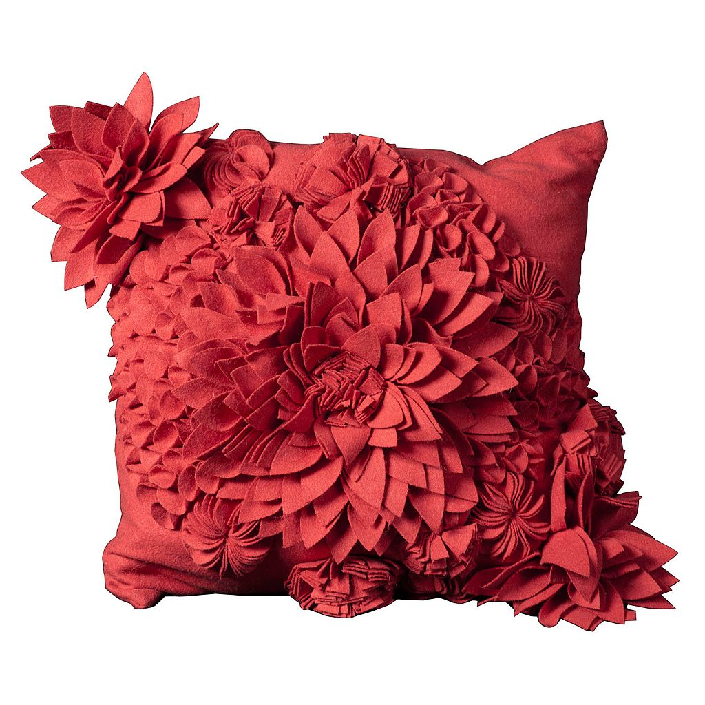 Mina Victory 20'' x 20'' Blooms Felt Throw Pillow