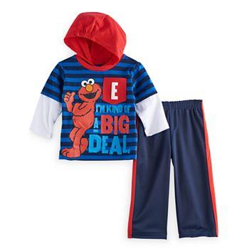 Sesame Street Baby Boys 2 Piece Plaid Elmo Shortall Set