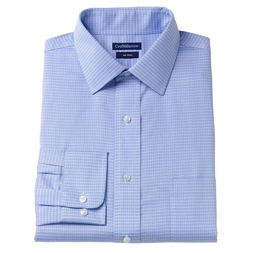 Croft & Barrow® Slim-Fit Checked Wrinkle-Resistant Dress Shirt – Men- Men