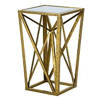 Deals on Madison Park Maxx Metallic Angular Mirror End Table