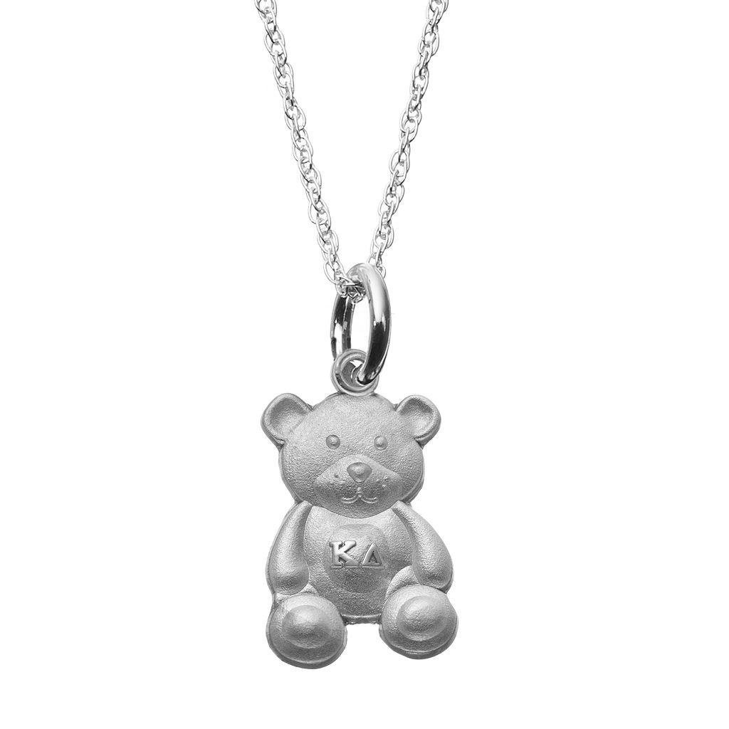 LogoArt Sterling Silver Kappa Delta Sorority Teddy Bear Pendant Necklace