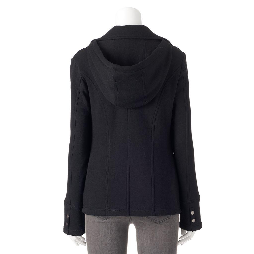 Women's Sebby Hooded Fleece Double-Breasted Peacoat